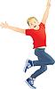 Vektor Cliparts: Der Junge springt