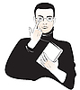 Vector clipart: student boy with book or monk with Bible