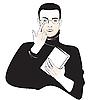 Vektor Cliparts: Schüler Junge mit einem Buch oder Mönch mit einer Bibel