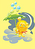 Vector clipart: sun with umbrella in the clouds