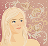 Vector clipart: woman face on floral pattern