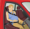 Vector clipart: pregnant woman in car