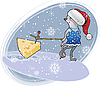 Vector clipart: Christmas mouse with cheese