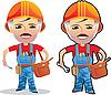 Векторный клипарт: рабочий человек мультфильма