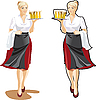 Векторный клипарт: официантка с пивом