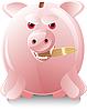 Vector clipart: greedy little pig