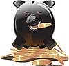 Vector clipart: black piggy bank
