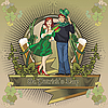 Vector clipart: St. Patrick day girl label