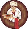 Vector clipart: italian pizza cook