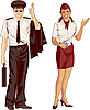 Vector clipart: flight attendant and pilot
