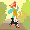 Vector clipart: girl with dog