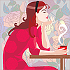 Vector clipart: girl in red in cafe