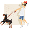 Vektor Cliparts: Hund und Mädchen