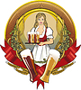 girl waitress, beer label