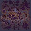 Vector clipart: floral drsign purple