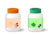Vector clipart: Two bottles with tablets