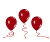 Vector clipart: three red air balloons