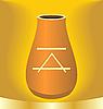 Vector clipart: ancient jug with symbol