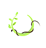 Vector clipart: Concept of branch at green leaf and snake