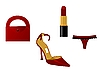 Vector clipart: The main attributes of the woman of fashion