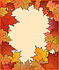 Vector clipart: Autumn card with maple leaves