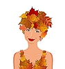 Vector clipart: elegant autumn girl with leaves