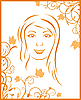 Vector clipart: abstract face autumn girl portrait