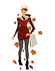 Vector clipart: elegant autumn girl