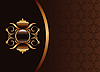 Vector clipart: the black gold brown invitation frame or packing fo