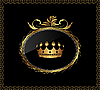 Vector clipart: gold ornament with crown