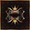 Vector clipart: golden floral frame with crown