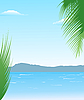 Vector clipart: summer background with beach and mountains