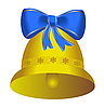 Golden christmas bell with blue bow