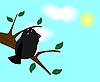 Векторный клипарт: Птица на ветке