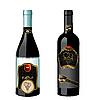 Set von Weinflaschen mit Etiketten