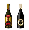 set of wine bottles with label