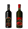 Vector clipart: of wine bottles with attached vintage labels