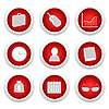 Vector clipart: Business red button set