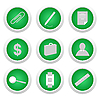 Vector clipart: Green sticker with icon 9
