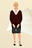 Vector clipart: business women with case