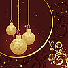 Christmas card with golden balls