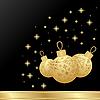 Векторный клипарт: новогодняя открытка с золотыми шарами