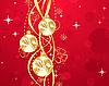 красный дизайн с новогодними елочными шарами