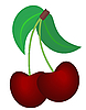 Vector clipart: Two cherry's