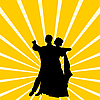 Vector clipart: Silhouette couple dancing waltz