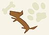 Векторный клипарт: Собака и следа и кости
