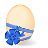 Vector clipart: by Easter egg with blue bow