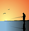 Vector clipart: fishing on lake