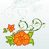 Vector clipart: cute orange flowers with ornament