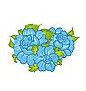 Vector clipart: blue flowers on white